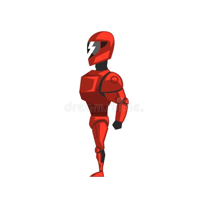 Spacesuit rojo del robot, super héroe, traje del cyborg, ejemplo del vector de la vista lateral en un fondo blanco stock de ilustración