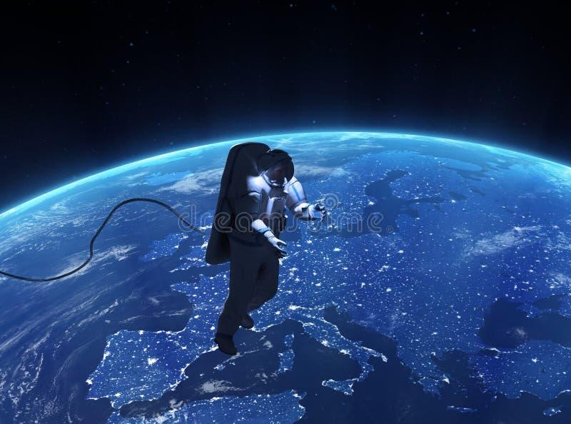 Spacewalk πέρα από την Ευρώπη διανυσματική απεικόνιση