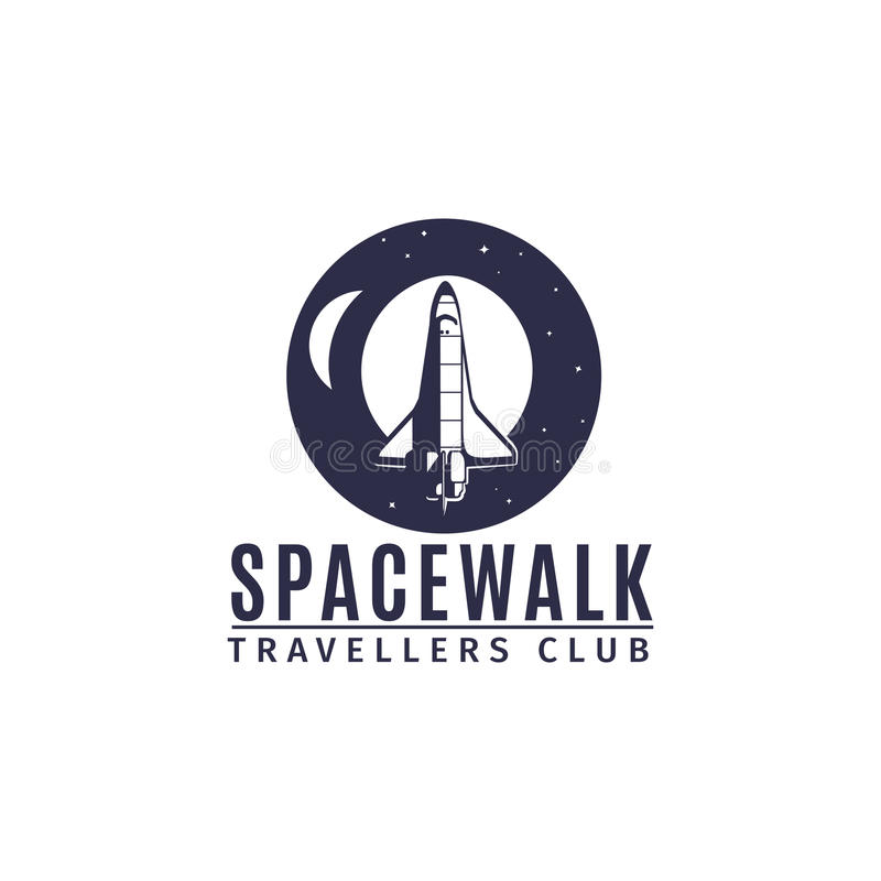 Spacewalk astronautic traveller club logo. Spacewalk astronautic traveller club vector logo design with space rocket in retro style royalty free illustration