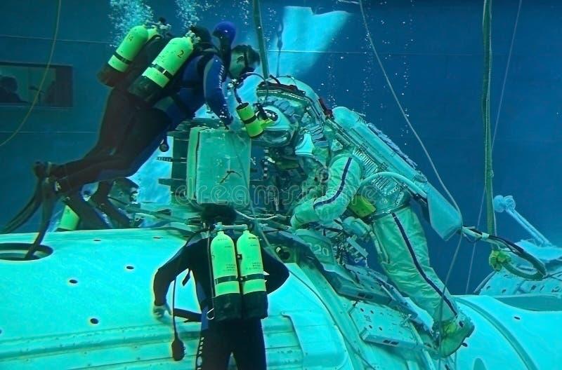 Spacewalk Training in Russian Hydrolab royalty free stock image
