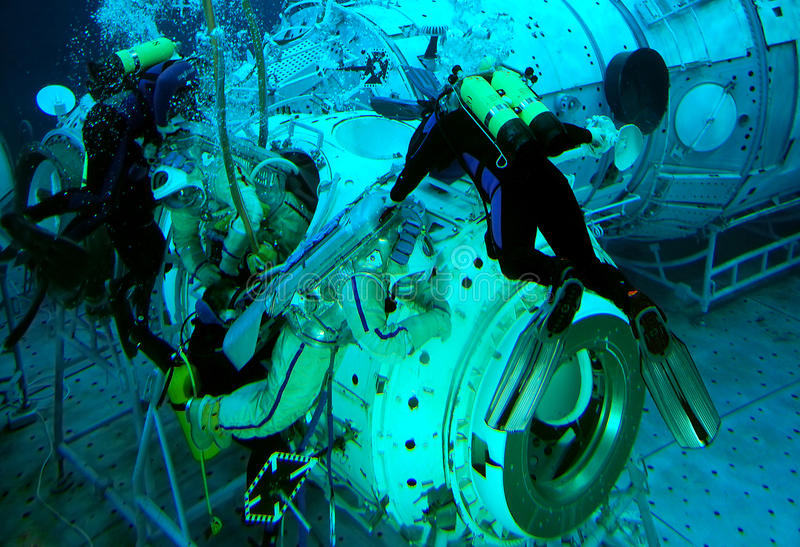 Spacewalk Training in the Water royalty free stock photos
