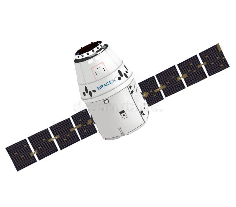 SpaceX龙航天器胶囊 背景装饰图象风格化漩涡向量挥动 查出的图象 库存图片
