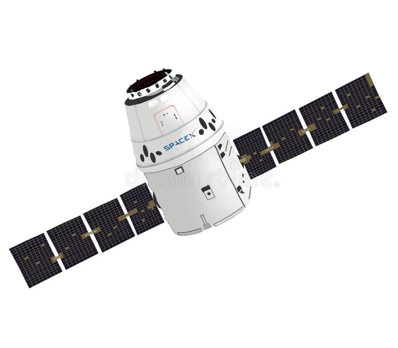 SpaceX Dragon spacecraft capsule. Vector graphic. Isolated image. SpaceX Dragon spacecraft. Vector graphic of spaceship.  Elon Musk space programme. Isolated stock image