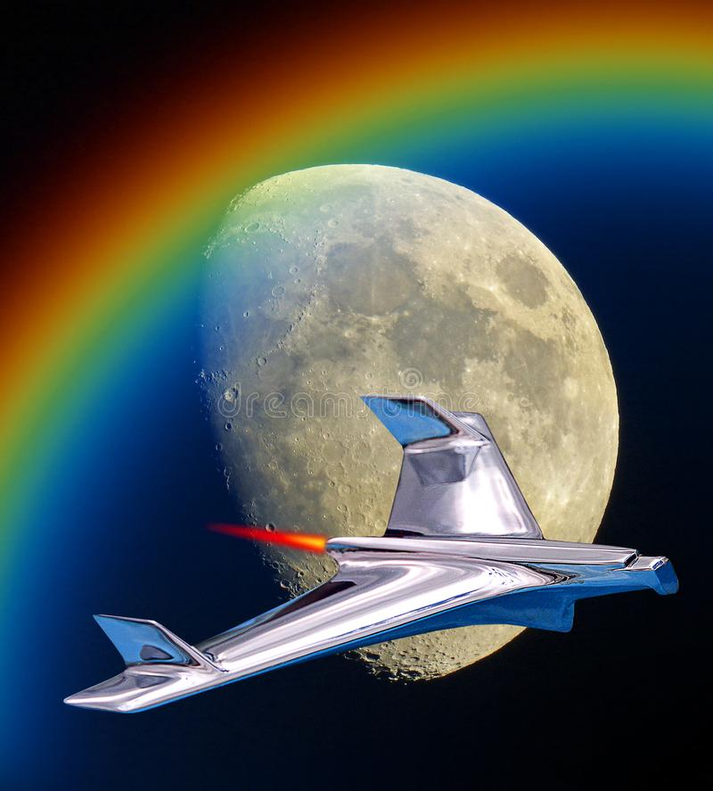 Spacex ha equipaggiato la missione a guasta l'orbita della luna di volo del razzo illustrazione di stock