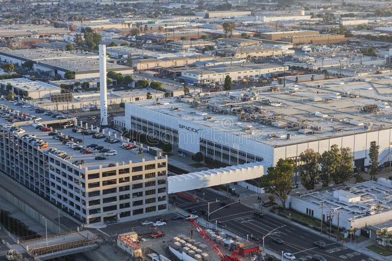 SPACEX Headquarters in Hawthorne California. Hawthorne, California, USA - August 7, 2017: Aerial view of the SPACEX headquarters and rocket manufacturing stock photo