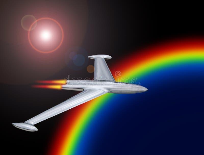 Jet Rocket Flight Into Space Journey To Mars Galaxy