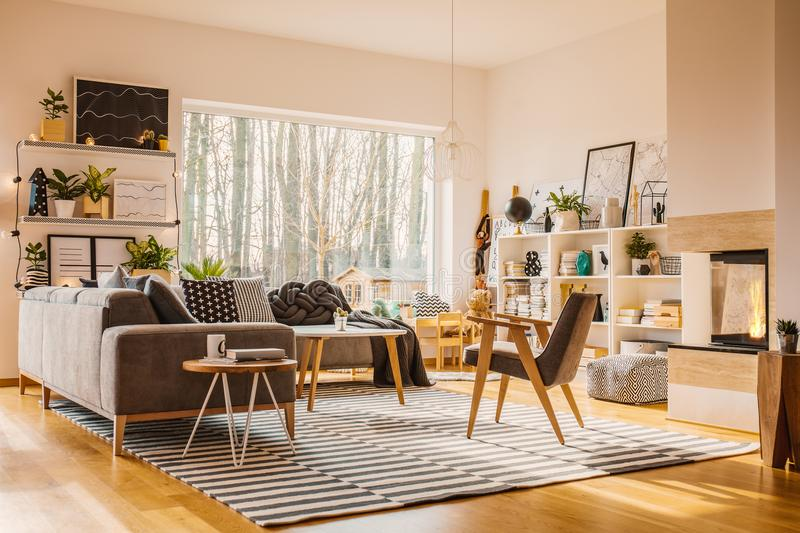 Spacious apartment interior with window royalty free stock image