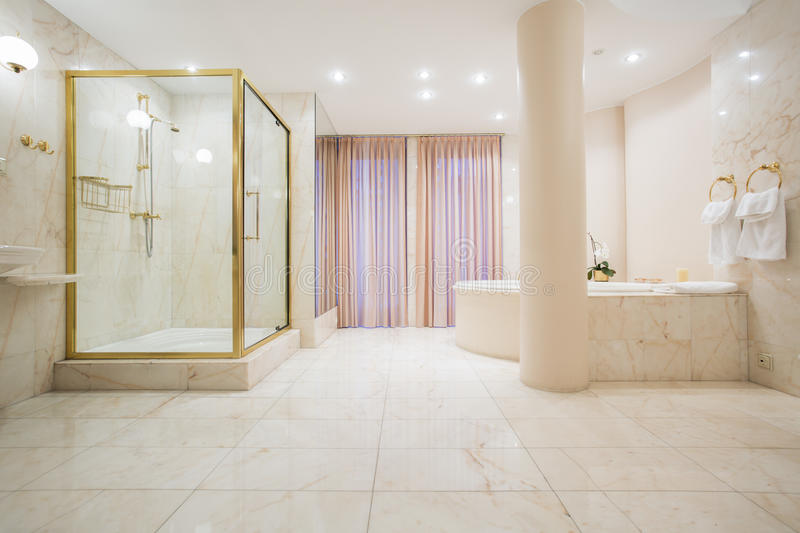 Download Spacious Bathroom In Luxury Mansion Stock Photo
