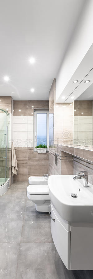 Spacious beige bathroom. Vertical panorama of spacious beige bathroom with white basin, mirror, toilet, bidet and shower in background royalty free stock photography
