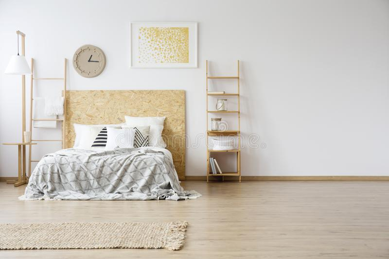 Spacious interior of a bedroom stock images