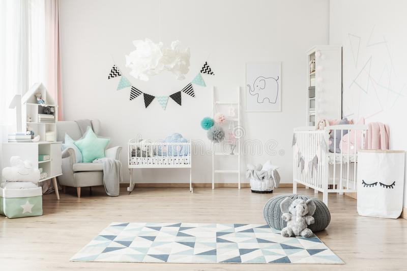 Spacious kid`s room with banner stock photos