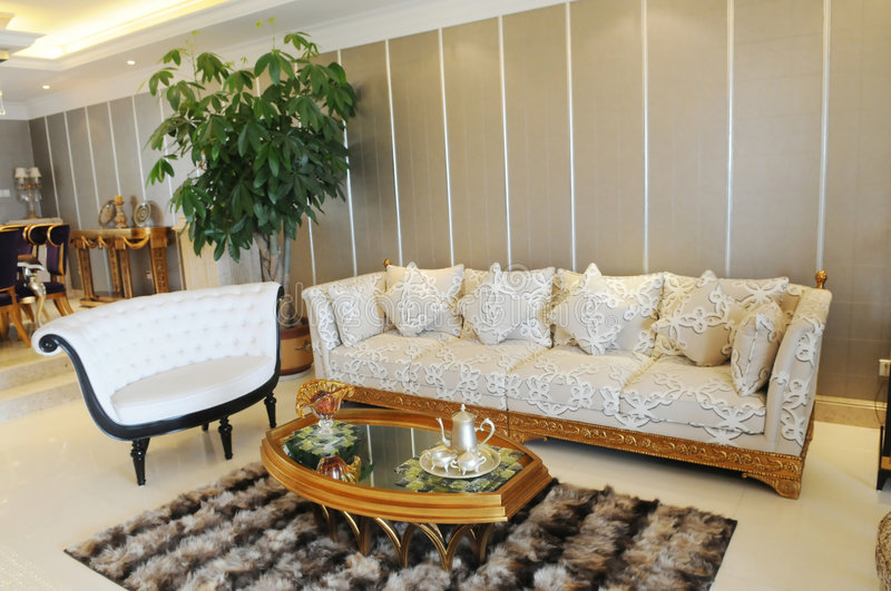 The spacious living room and fitments