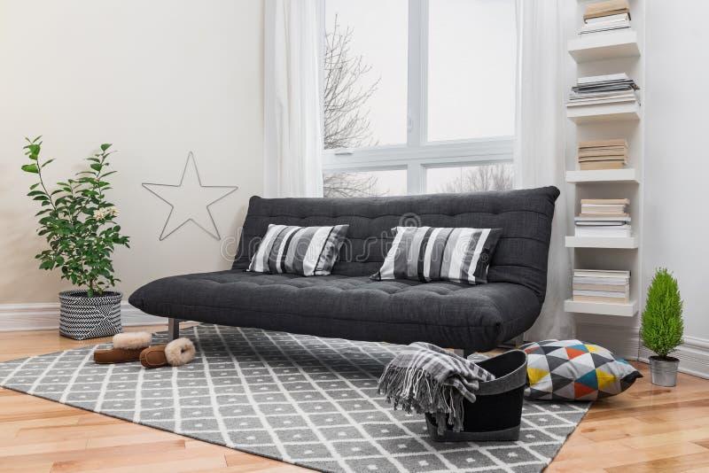 Spacious living room with modern decor stock photos
