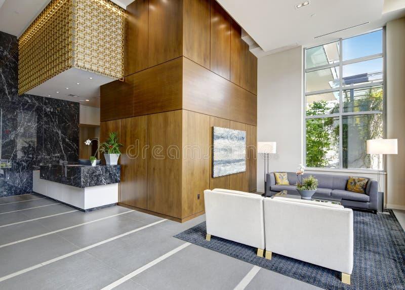 Spacious lobby area in a modern luxurious condominium. stock image