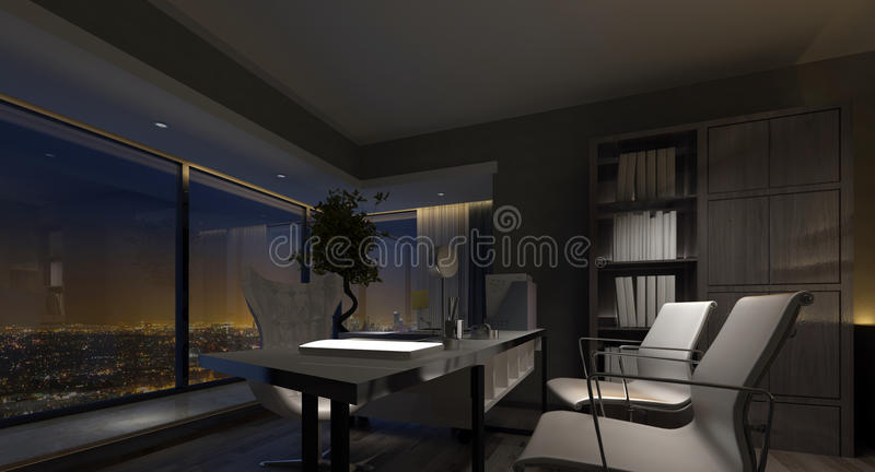 luxury home office. Download Spacious Luxury Home Office Interior At Night Stock Illustration - Of Stylish, Table