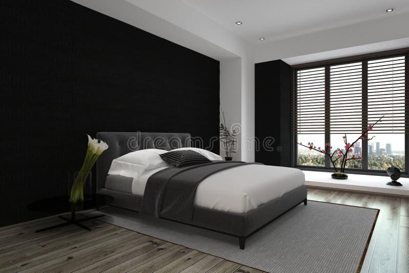 Spacious Modern Architectural Bedroom Design vector illustration