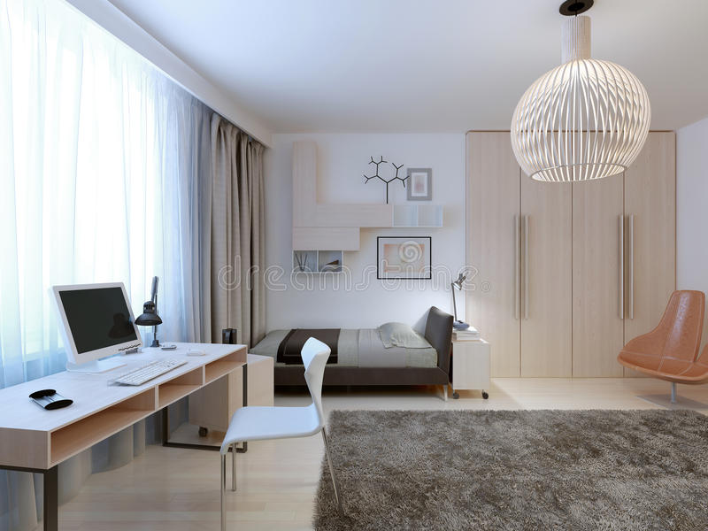 Spacious modern bedroom trend royalty free stock image