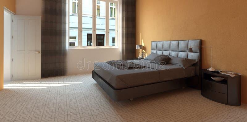 Spacious modern hotel bedroom interior royalty free illustration