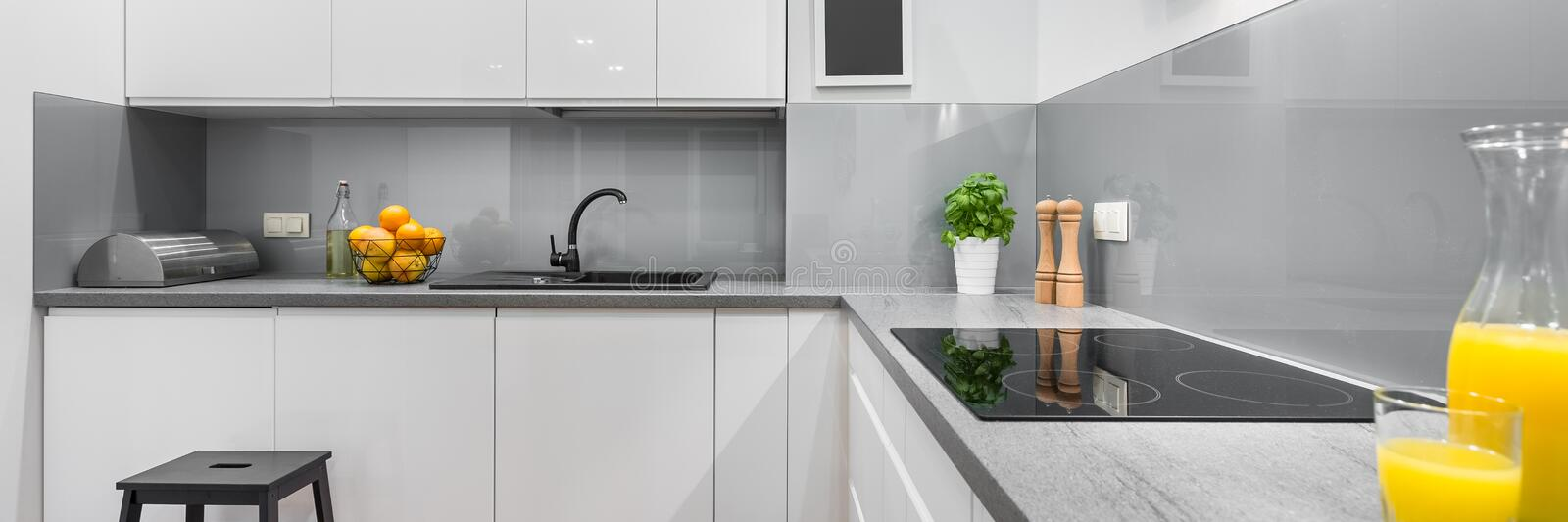 Spacious and modern kitchen royalty free stock photography