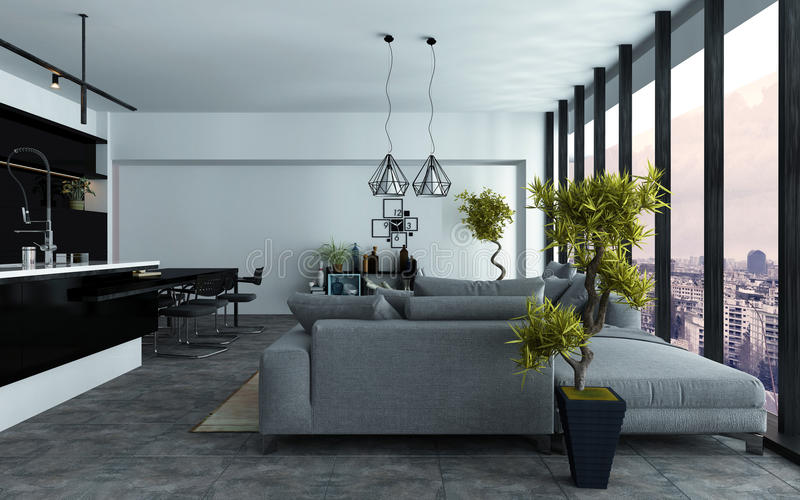 Spacious modern open-plan living room royalty free stock photos