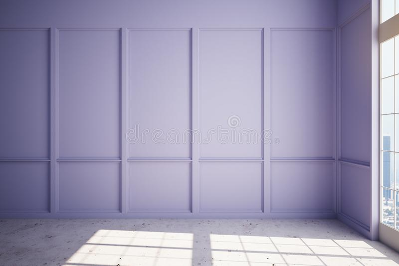 SPacious modern room with lilac wall and concrete floor. Lilac wall, concrete floor and big window with megapolis view in spacious room in skyscraper. 3D vector illustration