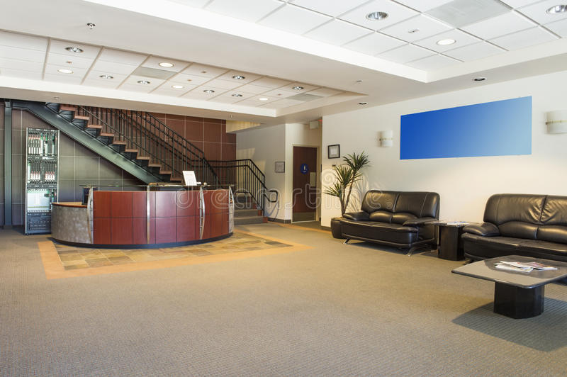 Spacious office lobby stock photo