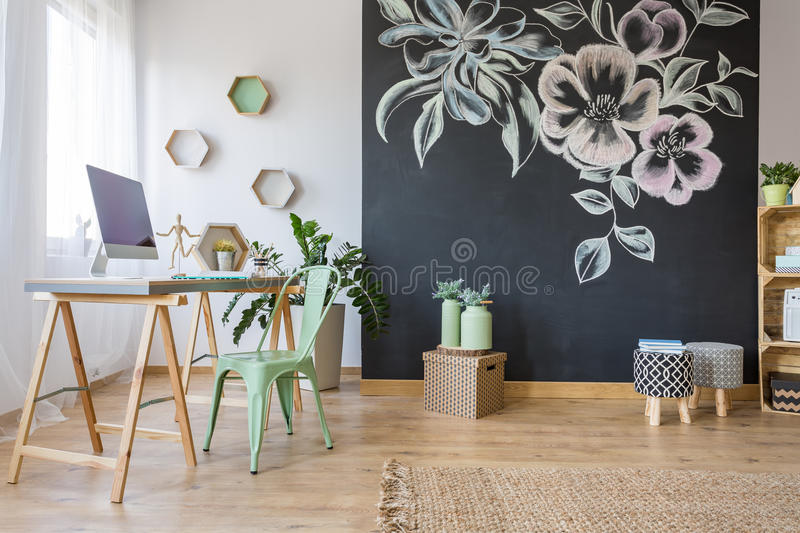 Spacious room with desk stock images