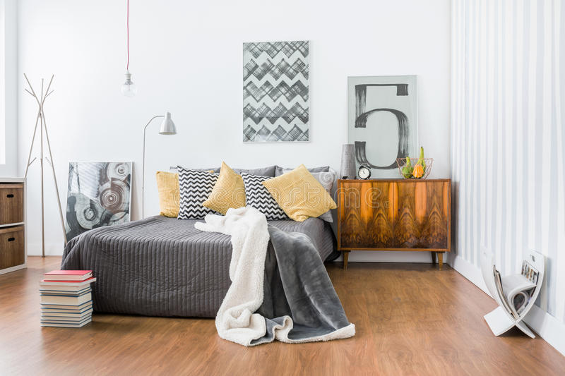Spacious room with double bed royalty free stock images