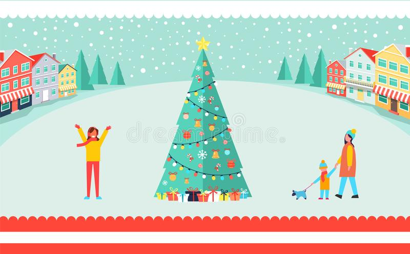 Spacious Town Square with Tall Christmas Tree royalty free illustration