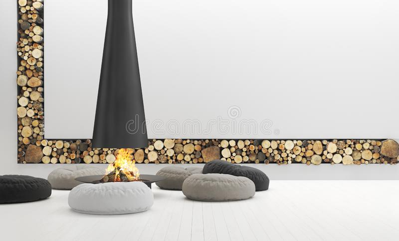 Spacious white living room with modern fireplace, lounge are stock photo