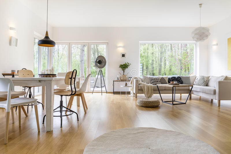 Spacious white room. Spacious white living room with wooden floor and white furniture royalty free stock images