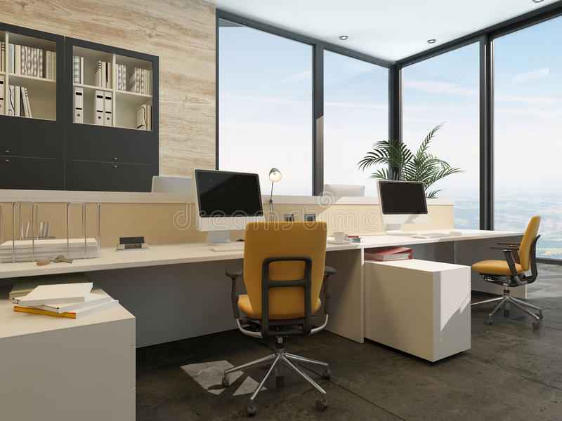 Spacious work environment in a modern office vector illustration