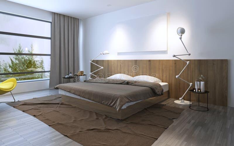 Spacy sovrum med dubbelsäng vektor illustrationer