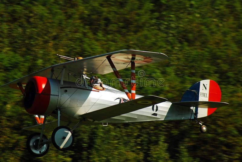 A SPAD VII takes off during a demonstration. From an airport in Rhinebeck, New York royalty free stock photography
