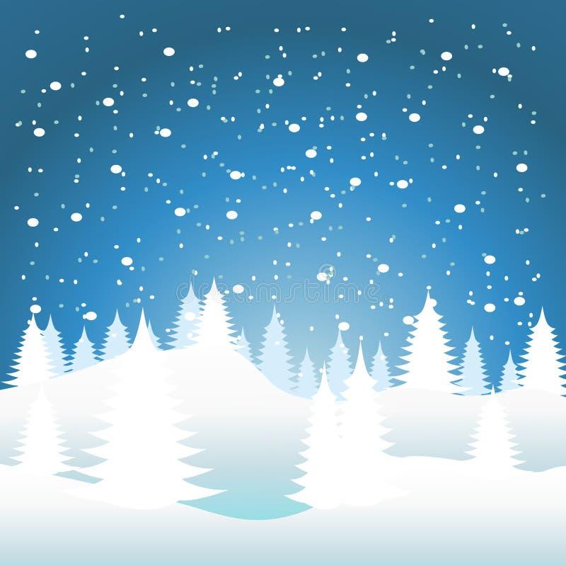 spadać śnieżni drzewa ilustracja wektor