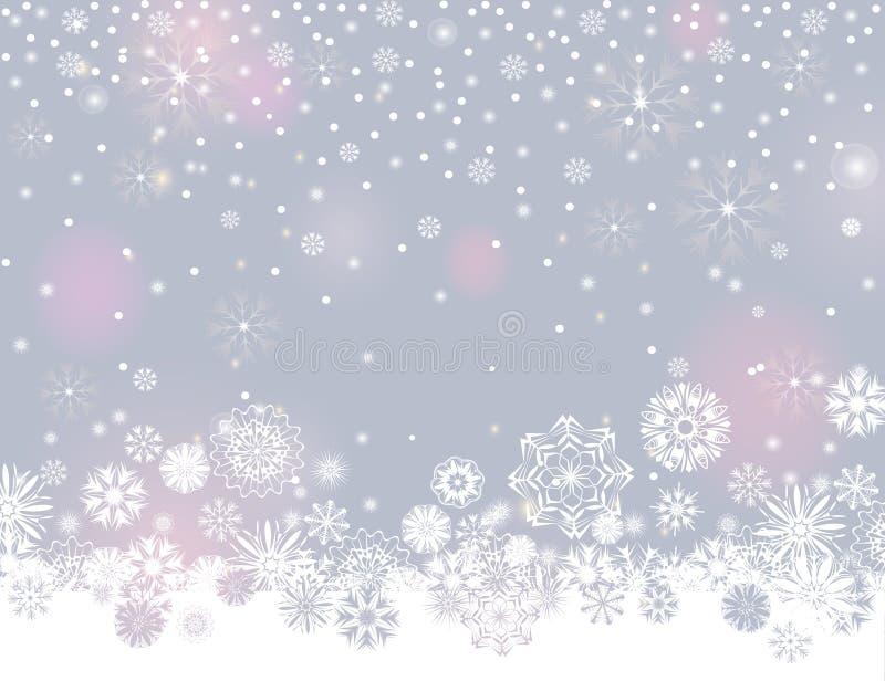 Spada śnieg graniczy na lekkim srebnym popielatym tle ilustracja wektor
