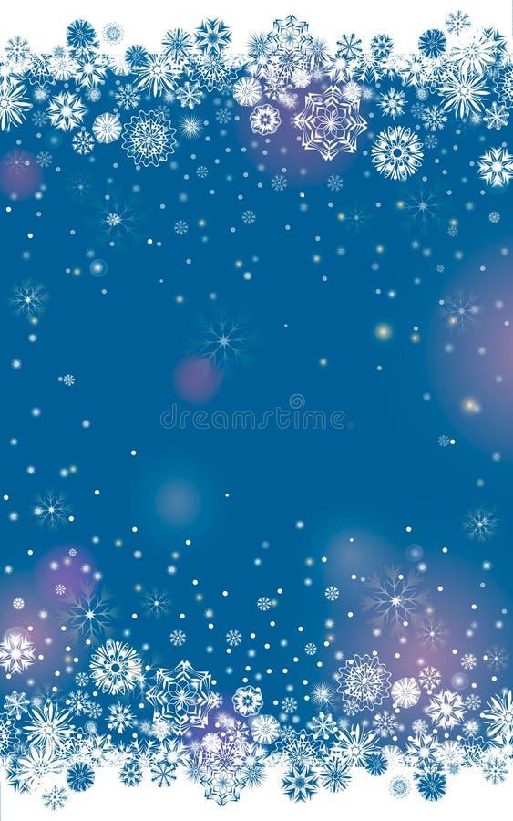 Spada śnieg graniczy na zmroku - błękitny tło ilustracji