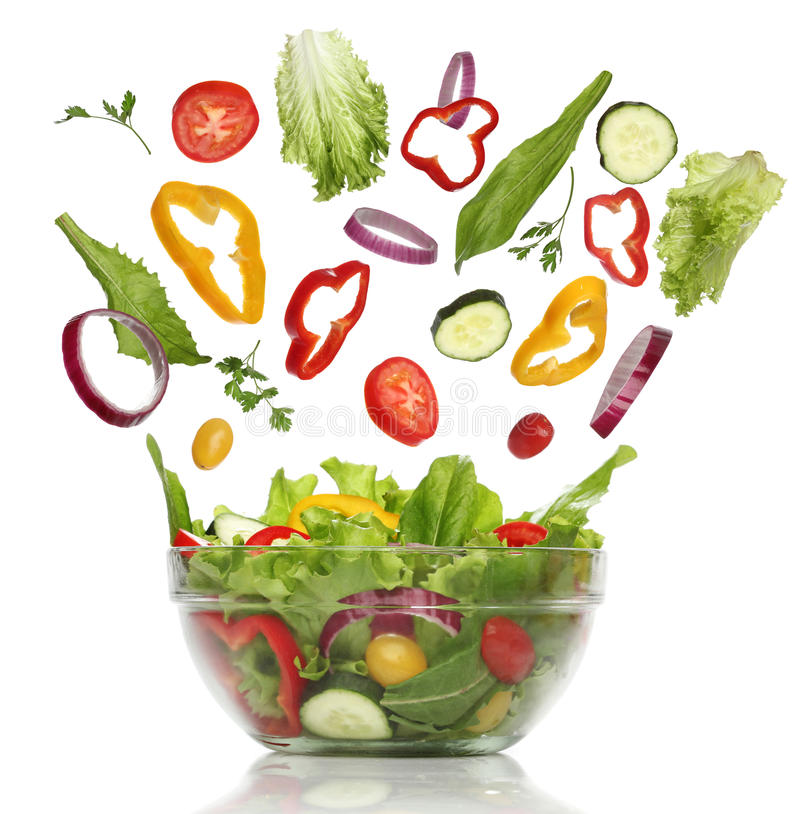 Spada świezi warzywa. Zdrowa sałatka zdjęcie royalty free