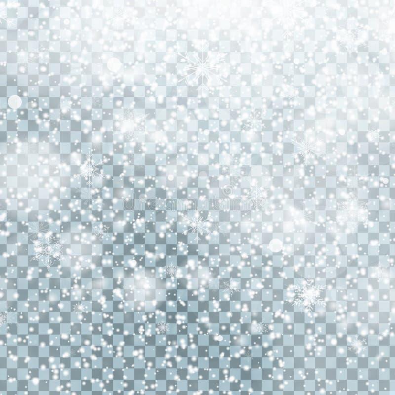 Spada Bożenarodzeniowy Olśniewający przejrzysty śnieg odizolowywający na przejrzystym tle Płatki śniegu, opad śniegu ilustracji