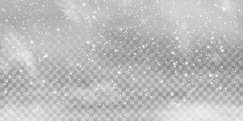 Spada Bożenarodzeniowy Olśniewający przejrzysty piękny, mały śnieg odizolowywający na przejrzystym, royalty ilustracja