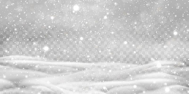 Spada Bożenarodzeniowy Olśniewający przejrzysty piękny, mały śnieg z snowdrifts odizolowywającymi na przejrzystym tle, ilustracja wektor
