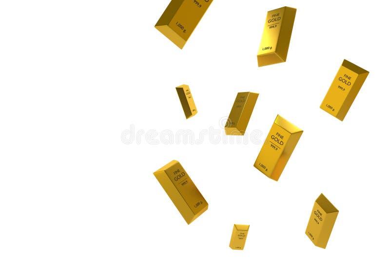 Spada cena reprezentująca złotym żółtego metalu barem iść w dół złoto royalty ilustracja