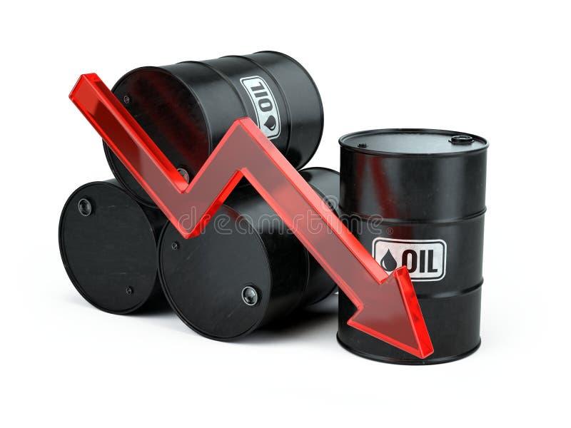 Spada cena ropy - zmniejsza strzała puszek i oli beczkuje odosobnionego na bielu royalty ilustracja