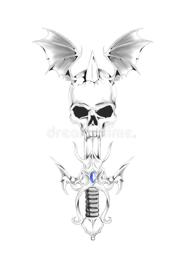 Spada con il cranio illustrazione di stock