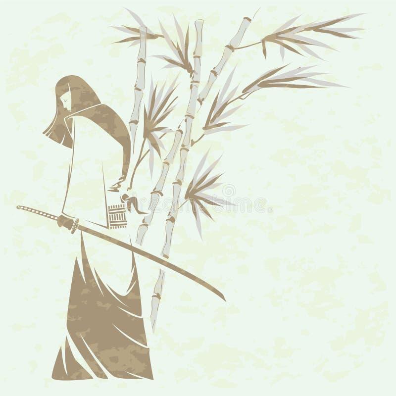 Spada del samurai della ragazza illustrazione di stock