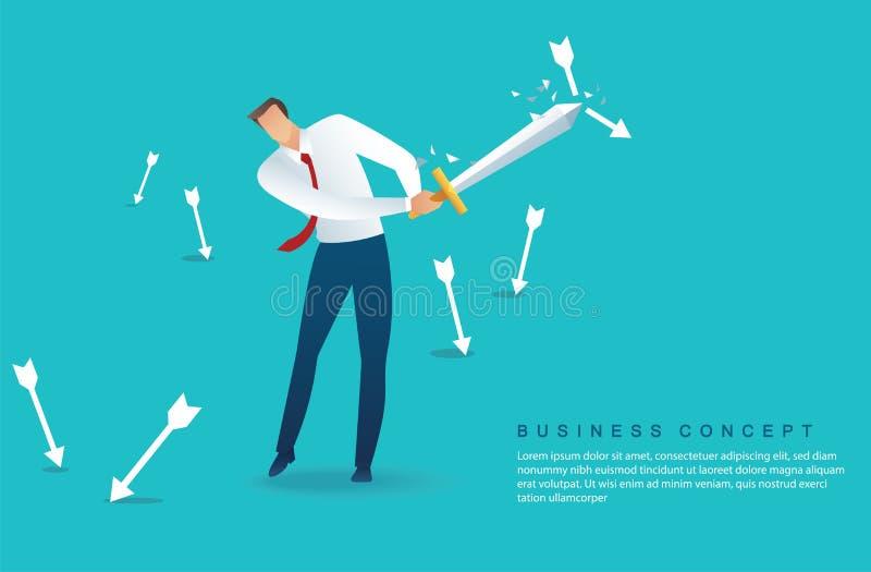 Spada della tenuta dell'uomo d'affari alla freccia proteggente gi? l'illustrazione di vettore illustrazione di stock