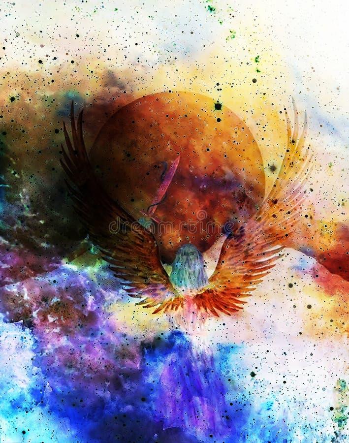 Spada della tenuta di angelo con il serpente, luna nel fondo Effetto del grafico e della pittura illustrazione vettoriale