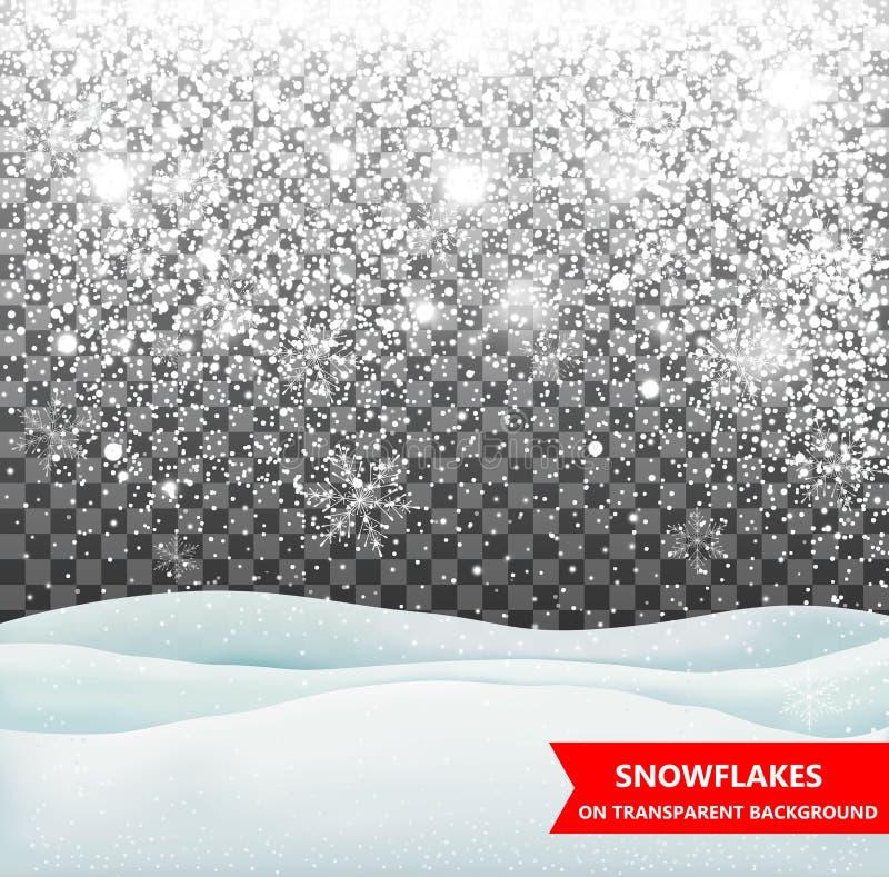 Spada dryfy na przejrzystym tle i śnieg snowfall Boże Narodzenia Płatki śniegu i śniegów dryfy Płatka śniegu wektor royalty ilustracja