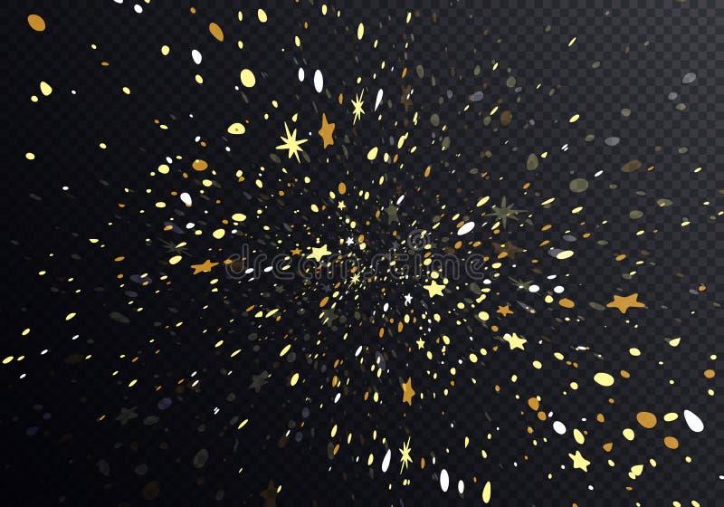 Spada gwiazd abstrakta tło Wektorowi fajerwerki ilustracyjni Złoci confetti Spadają puszek na Ciemnym tle ilustracja wektor