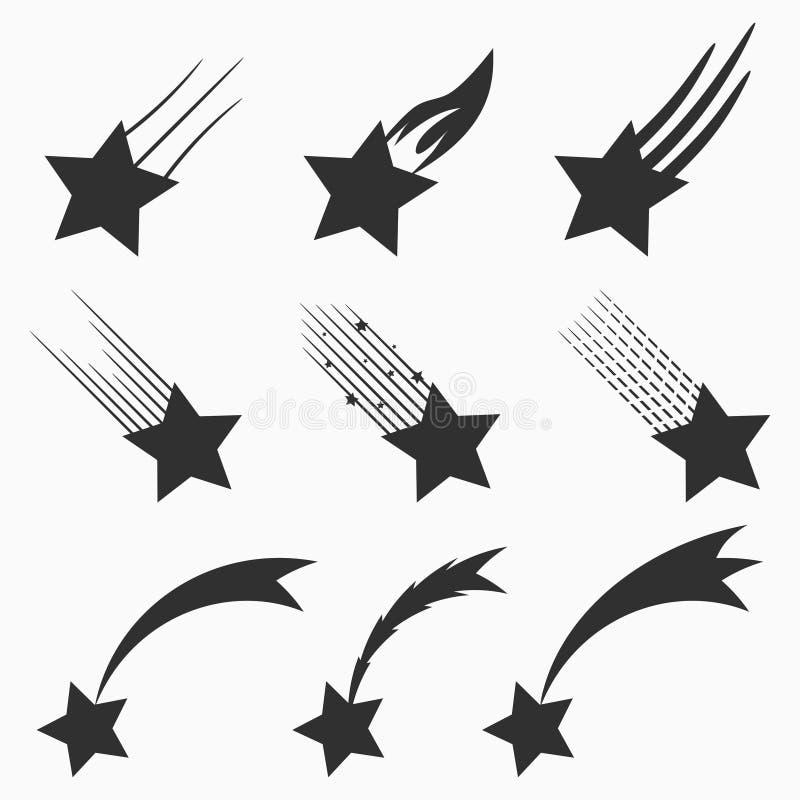 Spada gwiazd wektorowe ikony ustawiać Mknący meteoryty i komety z ogonami wektor royalty ilustracja